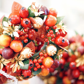 Fruity Christmas by Alice Chia - Public Holidays Christmas ( cherry, red, fruits, silver, christmas, gold, cranberries, fruity, hollies )