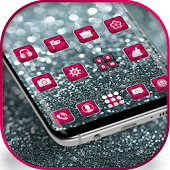 Silver Pink Glitter launcher for Galaxy S8 lovers