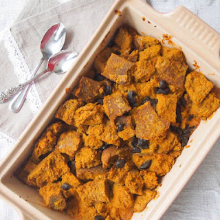 Pumpkin-Coconut Dark Chocolate Chunk Bread Pudding