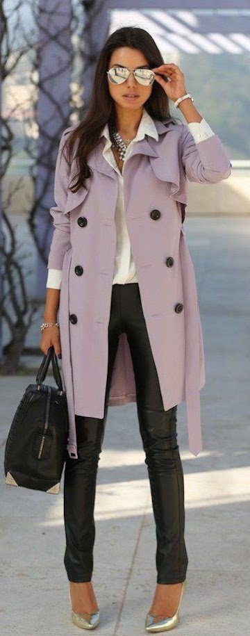 Pretty mauve coat with soft white blouse and black pants for Soft Summer women
