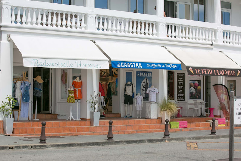 Boutique shops on the main street of Gustavia, St. Barts.