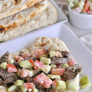 Middle Eastern Beef Gyro with Tzaziki Sauce.