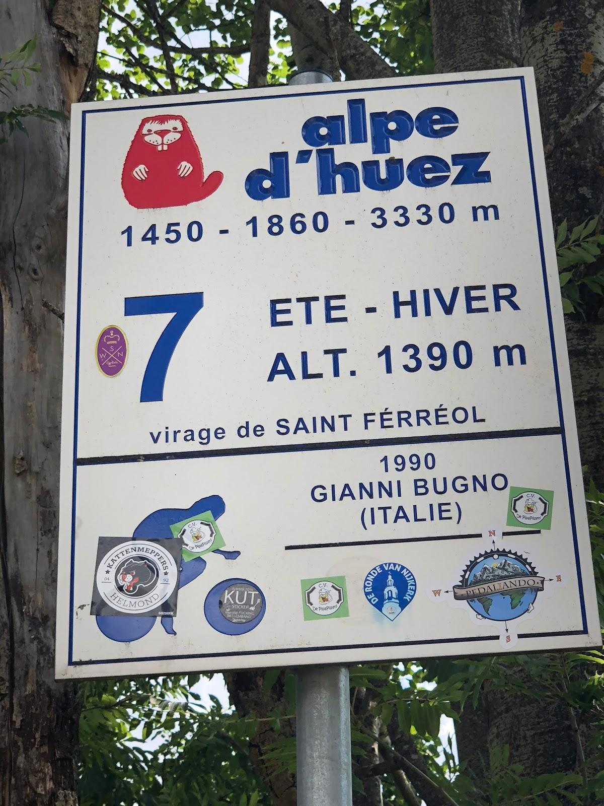 Cycling Alpe d'Huez - Dutch Corner hairpin #7 sign