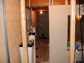 Photo: The first drywall to go up.. this is the 'back side' of the theater. Access to sump pump, water meter and water softener.