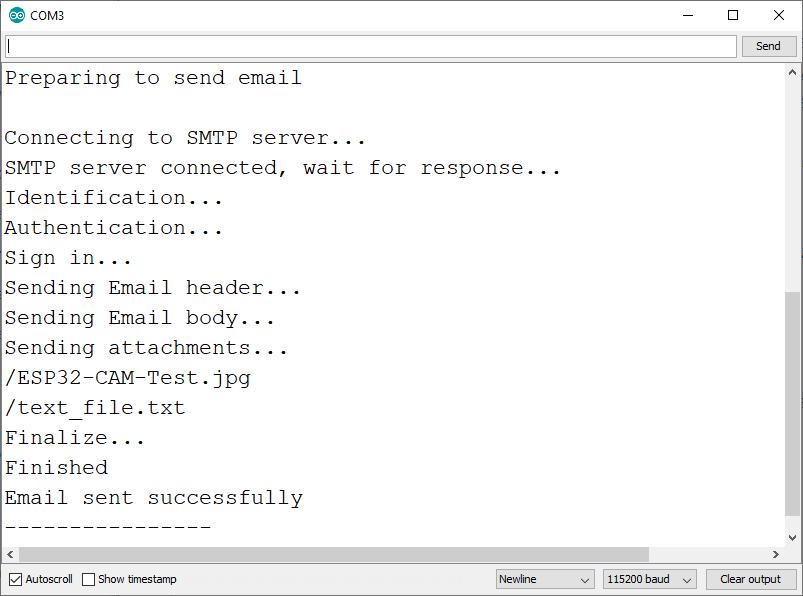 Gửi Email có tệp đính kèm Màn hình nối tiếp Arduino IDE