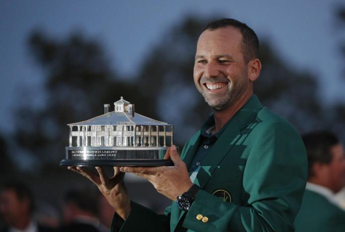 Sergio Garcia of Spain holds the Masters trophy after winning the 2017 Masters golf tournament at Augusta National Golf Club. Picture: REUTERS