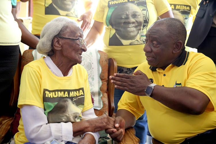 President Cyril Ramaphosa shared a heartfelt moment with 102-year-old Johhana Godden ahead of the ANC's manifesto launch and January 8 statement.