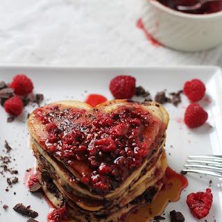 Dark Chocolate Raspberry Pancakes