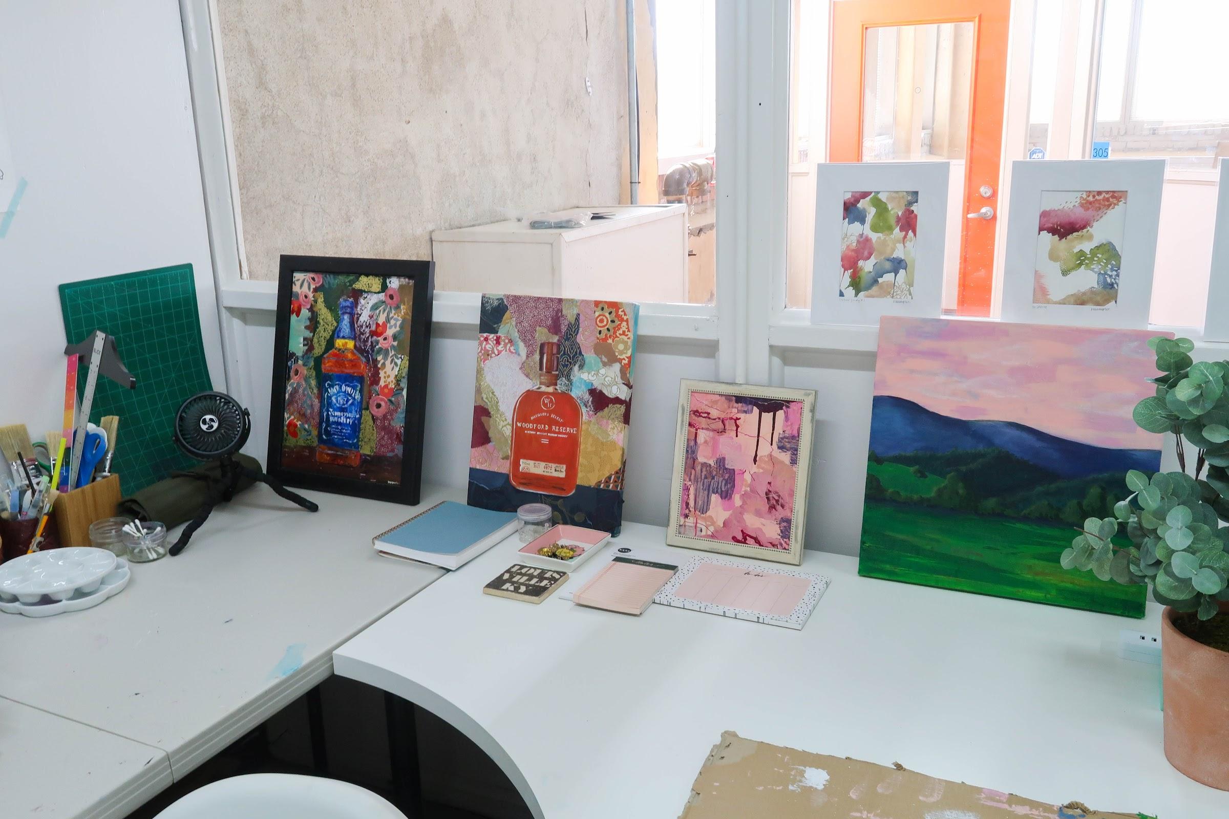 Katie Wampler: 4 paintings on desk