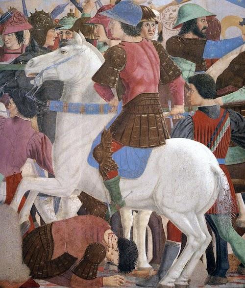 Piero della Francesca, Le Storie della Vera Croce, Battaglia di Eraclio e Cosroè, (particolare, una mischia inestricabile di combattenti a piedi e a cavallo), Basilica di San Francesco, Arezzo
