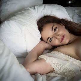 Good Morning by Jim Oakes - Nudes & Boudoir Boudoir ( pretty, model, red headed, female, bedroom )