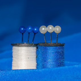 blue hour by Ira Mdt - Artistic Objects Still Life ( #blue #needle #thread #blue #white #macro #still life #sewing )