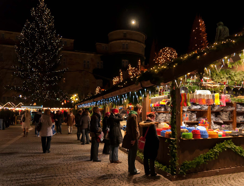 The Christmas market begins to ramp up in Stuttgart, Germany.