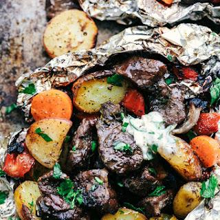 Butter Garlic Herb Steak Foil Packets.