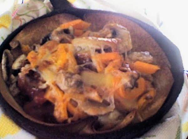 Cheese Topped Peppers, Mushrooms & Chili Tostado Recipe