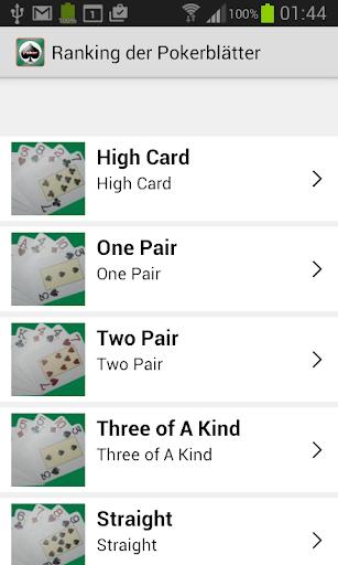 排名扑克的手
