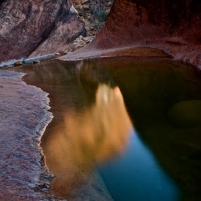 Canyon Pool Reflection by Jordan Wangsgard - Landscapes Waterscapes ( water, red, reflectin, pool, canyon, rocks )