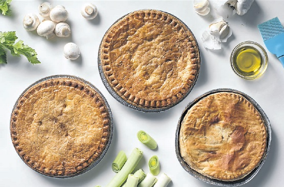 From left: Chicken pies from Pick n Pay, Woolworths and Checkers.