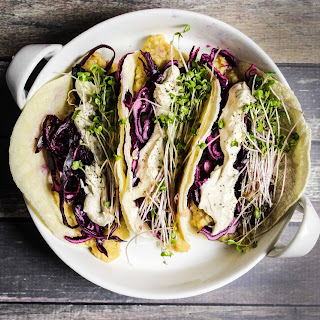 Lentil Tacos with Pickled Cabbage, Tahini Cream and Microgreens.