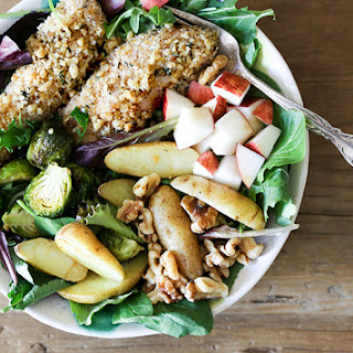 Walnut-Crusted Chicken and Roasted Vegetable Salad