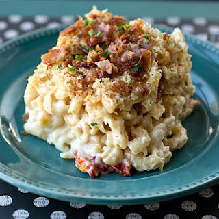 """Grown-Up's"" Mac n' Cheese with Three Cheeses, Crispy Prosciutto, Sun-dried Tomatoes and Multigrain Pasta, with Panko-Herb Crust."
