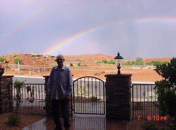 Dad and the double rainbow