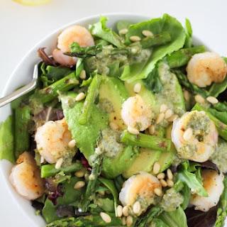 Grilled Shrimp and Asparagus Salad with Lemon-Pesto Dressing.