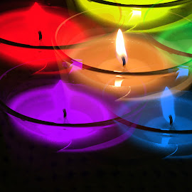 Colored candle  by Enry Ci - Digital Art Things ( light, candlelight, candle, object dark, colored, darkness, colors )
