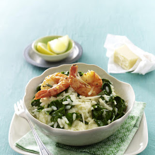 Spinach Risotto with Prawns