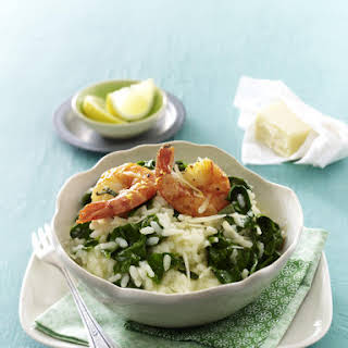 Spinach Risotto with Prawns.