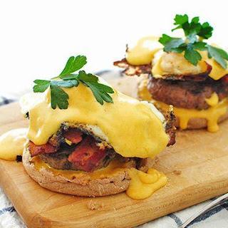 Spicy Eggs Benedict Breakfast Burger