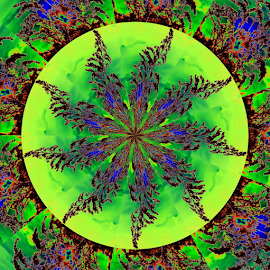 Feathery Wheel 2 by Tina Dare - Digital Art Abstract ( green, kaleidoscope, blue, pattern, solar, abstract, backlit )