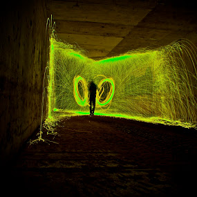 by Jordan Wangsgard - Artistic Objects Other Objects ( no photoshop, green, silhoutte, burning, fire, bounce, dual, walls, light painting, steel wool, noctography, long exposure, nightography, sparks )