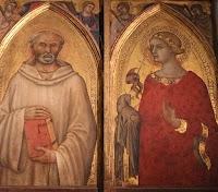Niccolò di Segna,Polittico della Resurrezione (dettaglio di San Benedetto e Santa Agnese con la sua pecora)