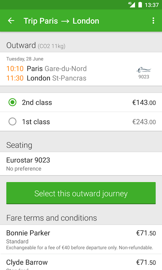 Captain Train: train tickets- screenshot