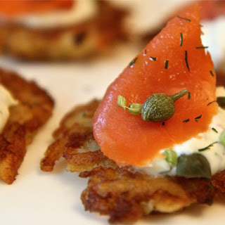 RECIPECrispy Potato Galette with Smoked Salmon and Dill Cream.