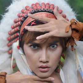 Apache Face by Kresnata Adijaya - People Portraits of Women ( apache, model, girl, portrait, headhsoot, indian )