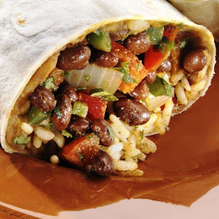 Easy Vegetarian Rice and Bean Burrito.
