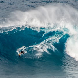 Long Ride on a Giant Wave by Keith Sutherland - Sports & Fitness Surfing ( adventure, maui, surfing, speed, surfer, jaws )