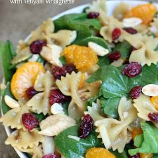 Spinach, Chicken Bowtie Pasta Salad with Teriyaki Viniagrette.