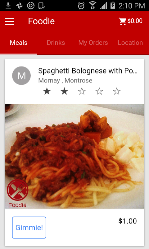 Foodie App- screenshot