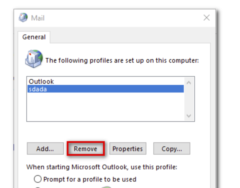 Select the Outlook Profile that you are using and press the Remove button.