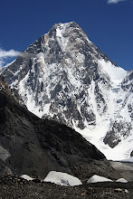 Photo: Gasherbrum IV (7925m), the 17th highest mountain in the world. A spanish pair were making a lightweight ascent of the snow ramp leading to the col on the right and were visible with binoculars.