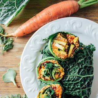 Kale Wraps + Carrot Cumin Cashew Spread.