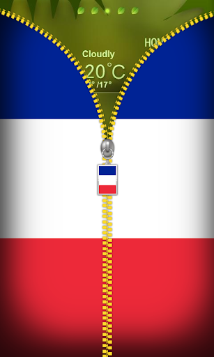 France Flag Zipper Lockscreen