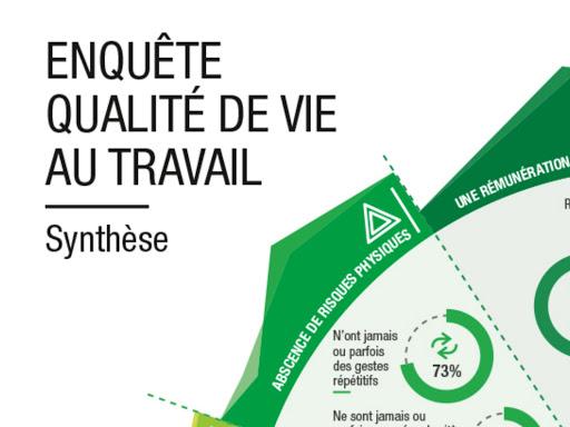 Design d'information et synthèse visuelle/datavisualisation d'une étude sur la qualité de vie au travail (QVT) Pour la cabinet Agiress - Cabinet sur la responsabilité sociale des organisations