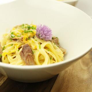 Braised Pork Hock Fettucine Carbonara