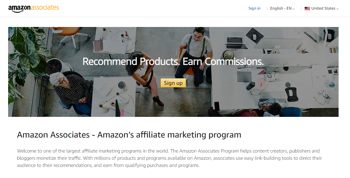 amazon associates screenshot