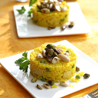 Ouzo Saffron Rice Pilaf with Peas, Pistachios & Almonds.