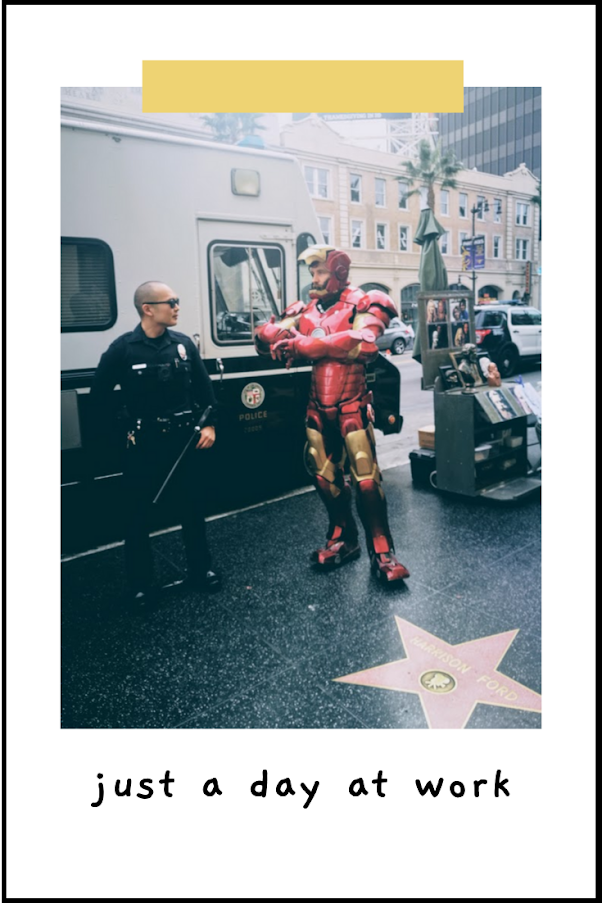 Ironman cosplayer and a cop
